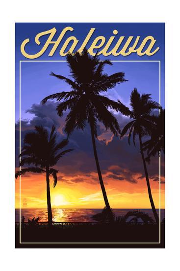 Haleiwa, Hawaii - Palms and Sunset-Lantern Press-Art Print