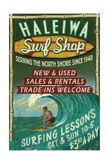 Haleiwa, Hawaii - Surf Shop Vintage Sign-Lantern Press-Art Print