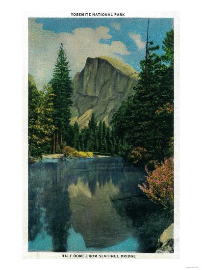 Half Dome from Sentinel Bridge - Yosemite, CA-Lantern Press-Art Print