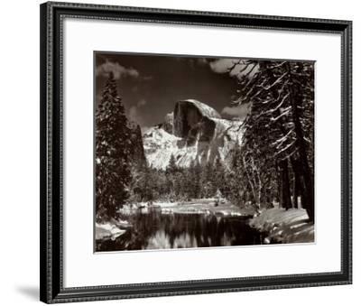 Half Dome, Merced River, Winter-Ansel Adams-Framed Art Print