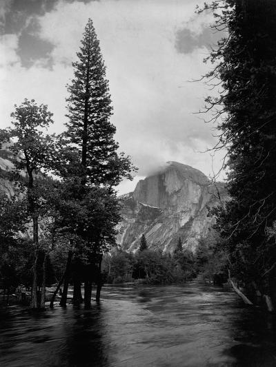 Half Dome Over Merced River--Photographic Print