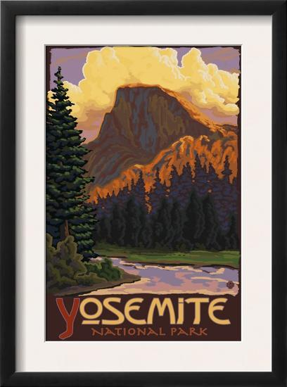 Half Dome, Yosemite National Park, California-Lantern Press-Framed Art Print