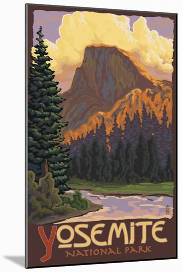 Half Dome, Yosemite National Park, California-Lantern Press-Mounted Art Print