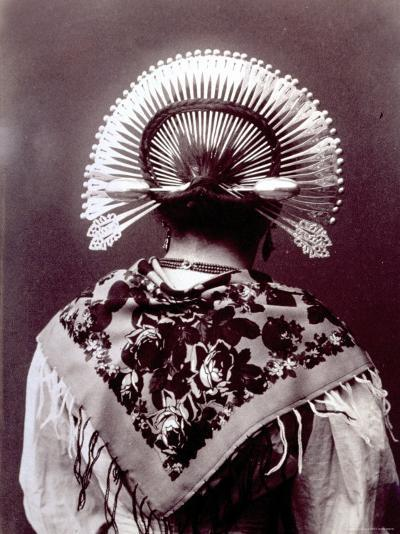 Half-Length Portrait from Behind of a Woman in a Typical Regional Costume of the Alta Brianza--Photographic Print