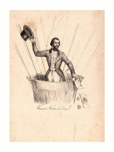 Half-Length Portrait of French Balloonist Francesco Arban Standing in the Basket of a Balloon--Giclee Print