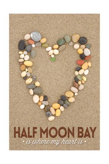 Half Moon Bay, California Is Where My Heart Is - Stone Heart on Sand-Lantern Press-Art Print