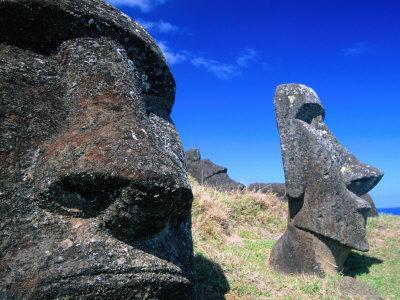 Half Submerged Traditional Moai at Rano Raraku, Easter Island, Valparaiso, Chile-Brent Winebrenner-Photographic Print