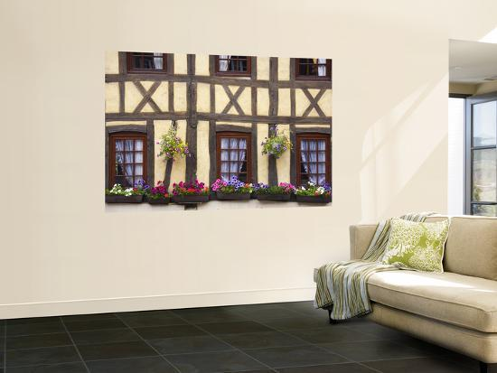 Half-Timbered Facade with Floral Window Boxes in Lyons-La-Foret-Barbara Van Zanten-Wall Mural