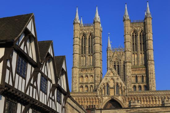 Half-Timbered Leigh-Pemberton House and Lincoln Cathedral, England-Eleanor Scriven-Photographic Print
