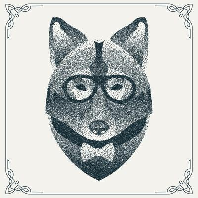 Halftone, Dotwork Hipster Wolf with Black Dots. Abstract Geometric Modern Hipster Character. Vector- Krol-Art Print