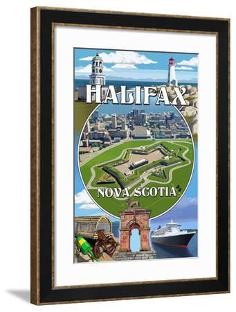 Halifax, Nova Scotia - Montage-Lantern Press-Framed Art Print
