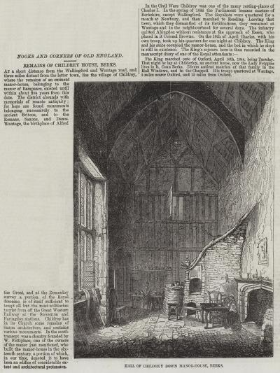 Hall of Childrey Down Manor-House, Berks--Giclee Print