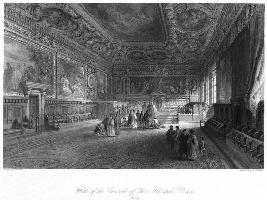 Hall of the Council of 'Five Hundred, Venice, Italy, 19th Century-E Challis-Giclee Print