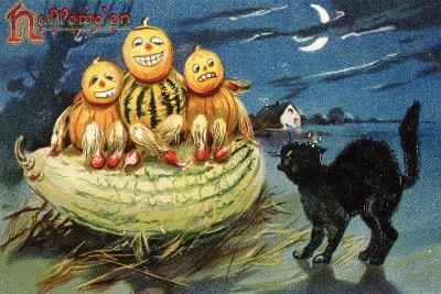 Hallowe'en Postcard with Jack-O'-Lanterns--Giclee Print