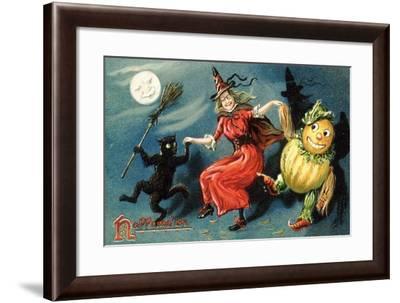 Hallowe'en Postcard--Framed Giclee Print