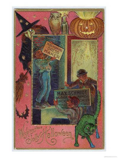 Hallowe'en Witch Offers Suitable Costume a Shopkeeper Provides Appropriate Eats--Giclee Print