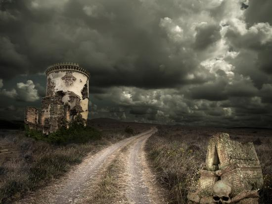 Halloween Background with Old Towers-KoTangens-Photographic Print
