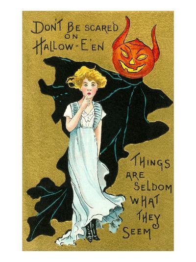 Halloween, Girl and Jack O'Lantern Goblin--Art Print