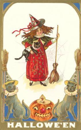 Halloween, Girl Witch with Cats