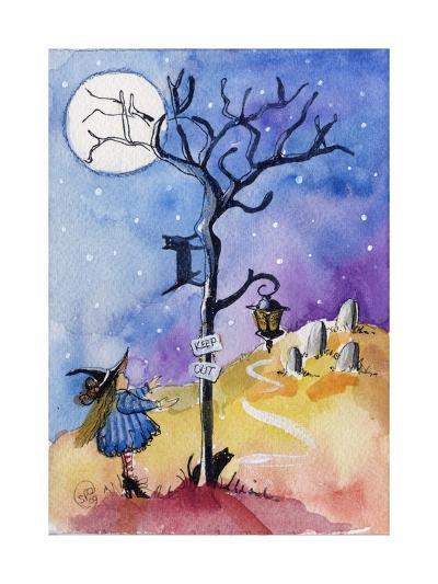 Halloween Graveyard Black Cat Keep Out-sylvia pimental-Art Print