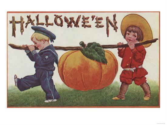 Halloween Greeting - Carrying Pumpkin-Lantern Press-Art Print