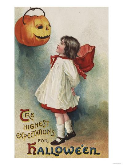 Halloween Greeting - Girl in Red and White-Lantern Press-Art Print