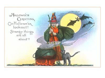 Halloween Greeting, Witch and Bats--Art Print