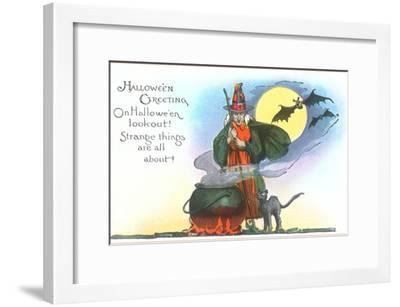 Halloween Greeting, Witch and Bats--Framed Art Print