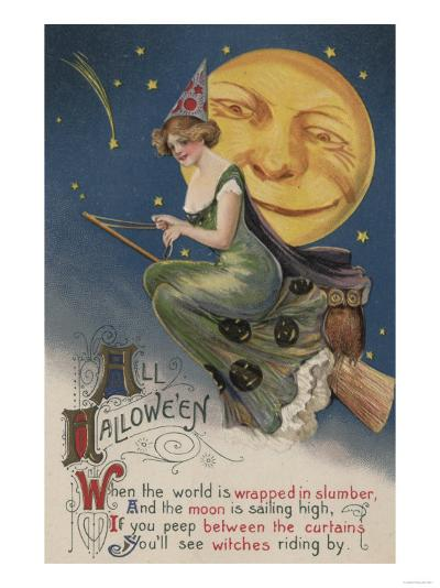 Halloween Greeting - Witch in Flight-Lantern Press-Art Print