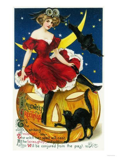 Halloween Greetings Woman on Jack-o-Lantern Scene-Lantern Press-Art Print