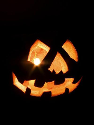 Halloween Jack-O' Lantern at Night-Marc Moritsch-Photographic Print