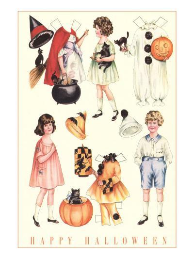 Halloween Outfits for Paper Dolls--Art Print