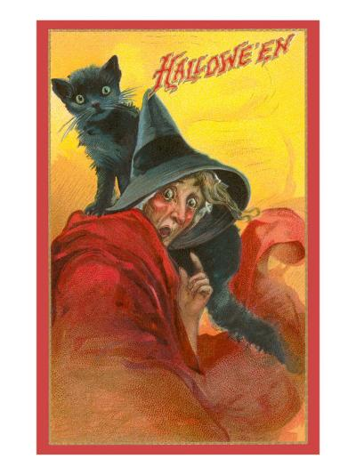 Halloween, Startled Witch and Cat--Art Print