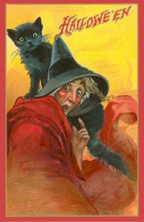 Halloween, Startled Witch and Cat