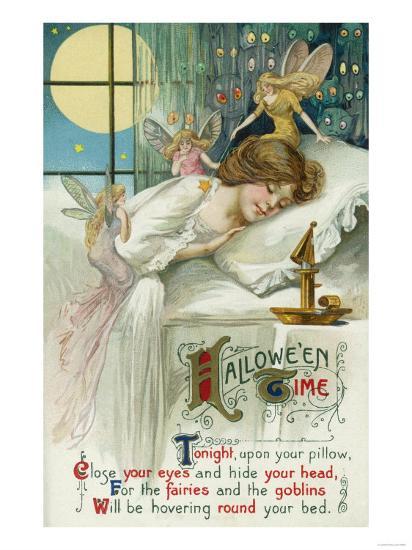 Halloween Time Fairies Around Sleeping Woman Scene-Lantern Press-Art Print