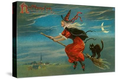 Halloween, Witch and Cat on Broom