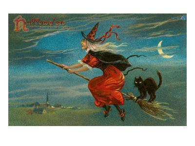Halloween, Witch and Cat on Broom--Art Print
