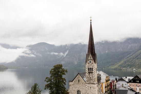 Hallstatt, Salzkammergut Region, Austria: Village By Lake On A Rainy Day With Low-Hanging Clouds-Axel Brunst-Photographic Print