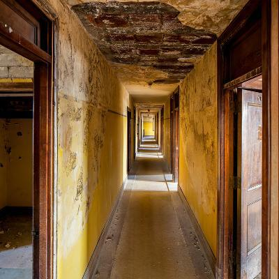 Hallway of an Abandoned Building in Butte, Montana-James White-Photographic Print
