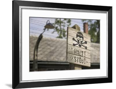 Halt Sign in KL Auschwitz I-Jon Hicks-Framed Photographic Print