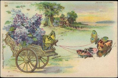 Haltgegendaslicht Litho Schmetterlinge, Blumenwagen, Kitsch, Meteor Drgm 88690--Giclee Print