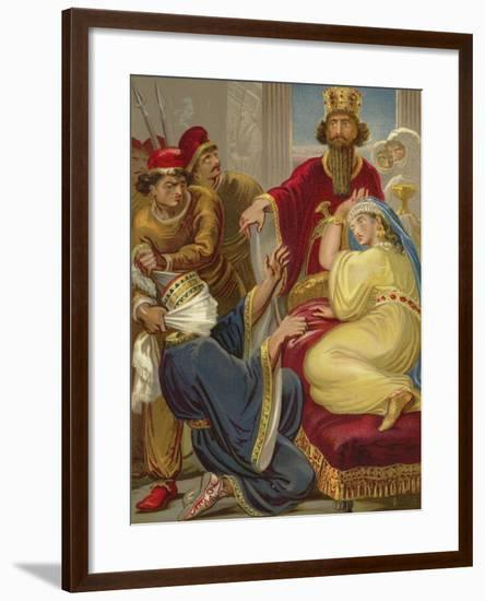 Haman Asking His Life of Queen Esther--Framed Giclee Print