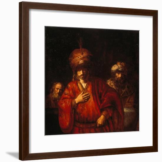 Haman erahnt sein Schicksal (David und Uriah). 1665--Framed Giclee Print