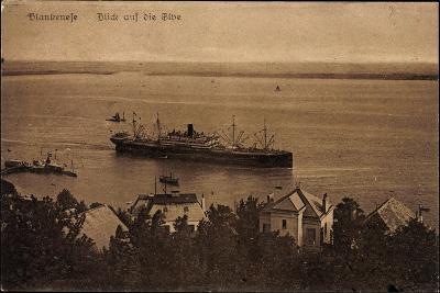 Hamburg Altona Blankenese, Blick Auf Die Elbe, Schiff--Giclee Print