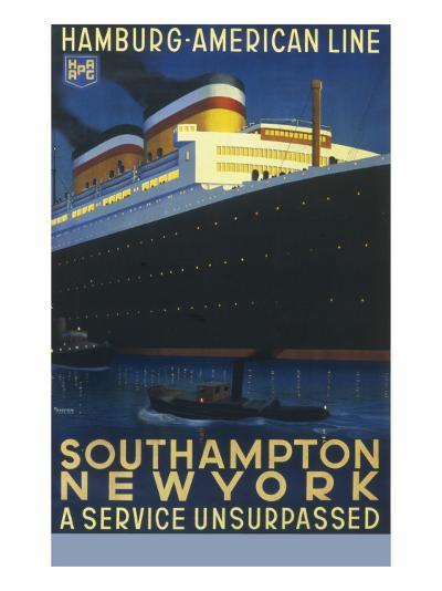 Hamburg American Line Passenger Ship Poster--Giclee Print