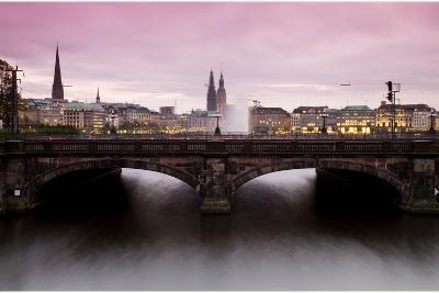 Hamburg at Night: View to Lombardsbruecke and Binnenalster in Hamburg-Christina Czybik-Photographic Print