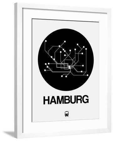 Hamburg Black Subway Map-NaxArt-Framed Art Print