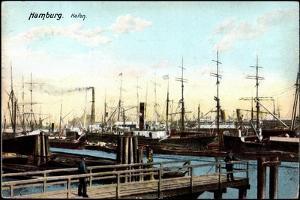 Hamburg, Blick Zum Hafen, Segelschiffe, Passanten