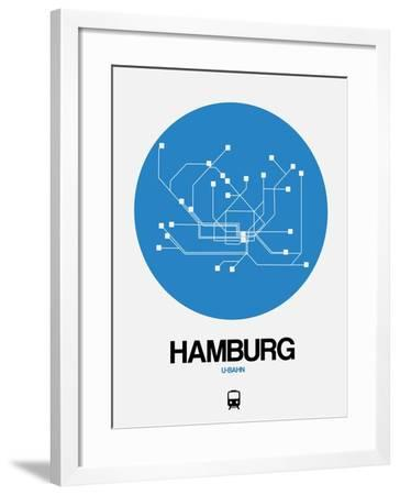 Hamburg Blue Subway Map-NaxArt-Framed Art Print