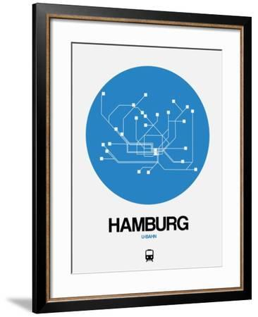Hamburg Blue Subway Map-NaxArt-Framed Art Print